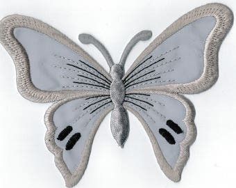 Iron or sew gray embroidered Butterfly patch. Applique Patch 13 x 9.5 cm