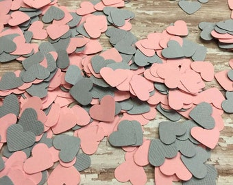 Heart Confetti, Light Pink Gray Confetti, baby girl shower, Wedding reception, invitation confetti, table scatter, pink heart confetti, grey