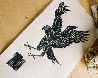 Hawk Block Print