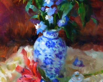 Lilies and Delphinium - original oil painting, alla prima oil painting, one of a kind
