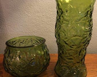Vintage EO Brody Green Crinkle Glass MCM Vases - Set of 2