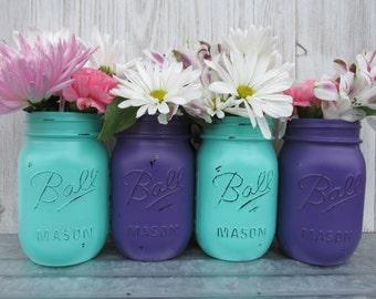 Mermaid/Under The Sea-Painted Ball Mason Jars-Flower Vases- Deep/Dark Purple/Plum and Seafoam/Mint/Turquoise/Aqua -/Baby Shower/Centerpieces