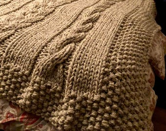 """Cable me crazy blanket 92"""" x92"""""""
