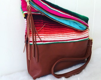 Serape and Leather Foldover Clutch