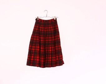 1950s Pendelton Plaid Wool Skirt | Pleated Tartan Midi Skirt [ extra small ]
