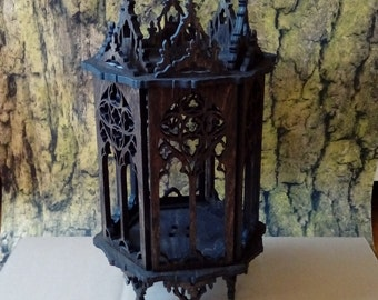 Gothic hexagonal lamp, openwork lantern, like medieval cathedral, wooden lamp
