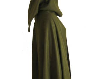 Olive GREEN Hooded Cape Cloak, Halloween Costume, Medieval Cosplay, LARP Hobbit LOTR Archer Elf,  Fleece Adult Child Toddler
