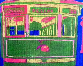 New Orleans Streetcar Painting by French Quarter artist Ginger
