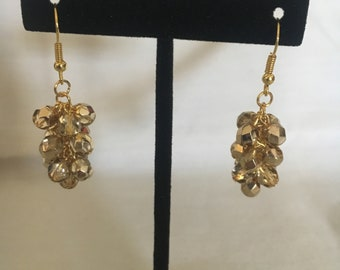 Gold cluster bead earrings
