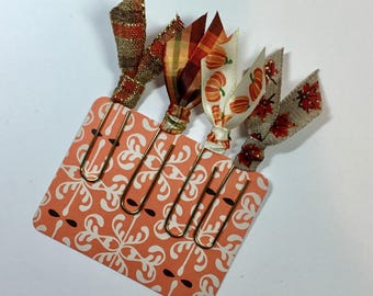 Fall Autumn Ribbon Paper Clip Planner Bookmarks