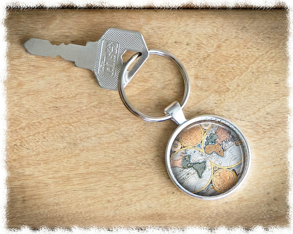 World map keychain travel gift vintage world map keyring world map keychain travel gift vintage world map keyring long distance antique map keychain gumiabroncs Image collections