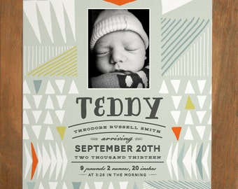 Birth Announcement - A9 size (Pen & Ink - Triangles - BOY) - Modern, Contemporary