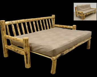 Rustic Mountain Hewn Futon Couch - full size bed