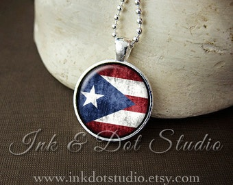 Rustic Puerto Rican Flag Necklace, Puerto Rico Flag Necklace, Puerto Rican Flag Pendant