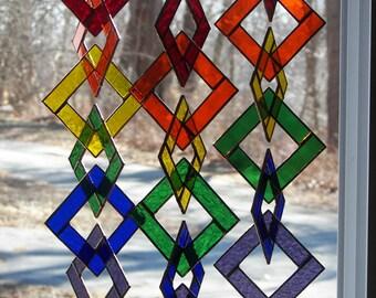 Stained Glass Rainbow Chain, Rainbow Suncatcher, Rainbow Sun Catcher, Rainbow Links, Glass Rainbow Chain