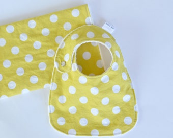 Baby Bib and Burp Cloth Set Unisex Gift Set Sunny Yellow Polka Dots