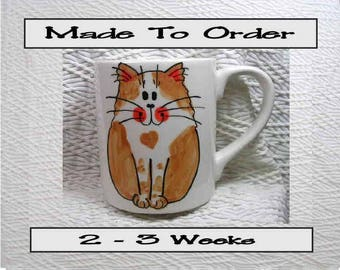 Smiling Ginger Cat Mug Original Handmade With Paws On Back by GMS