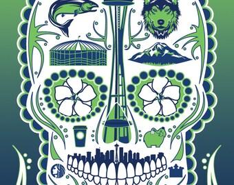 Historical Seattle Sugar Skull 11x14 Print