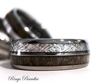 Real Antler Elk Ring Men and Women Wedding Band Meteorite