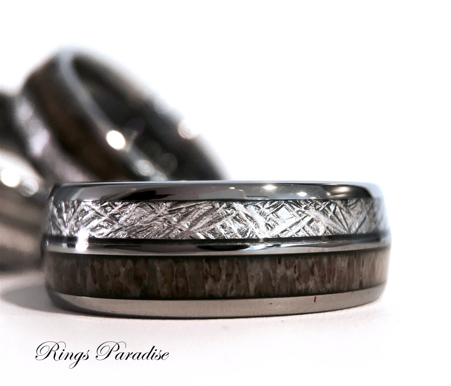 Matching Wedding Bands Meteorite Inlaid Tungsten Ring