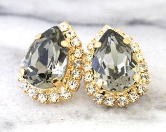 Gray Earrings, Black diamond Swarovski earrings, Black earrings, Black Crystal earrings, Dark Gray Earrings, Gift for her, Bridal Earrings