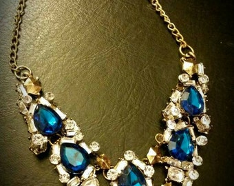 Afterlife Accessories Repurposed Blue & Clear Rhinestone Antique Gold Chain Necklace