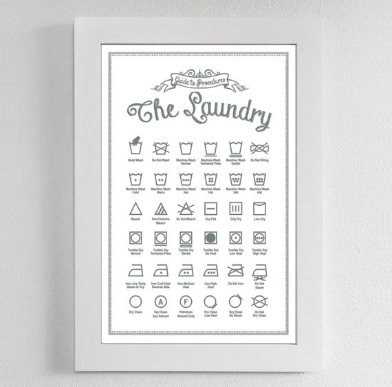 Laundry Symbols Poster Print Guide To Procedures Laundry