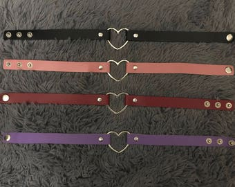 Colorful Faux Leather Silver Pretty Heart BDSM Choker Adjustable Necklace Slave Ring Collar