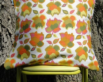 Funky Floral Orange, Yellow & Green 70s Vintage Fabric 16x16 Pillow Cover