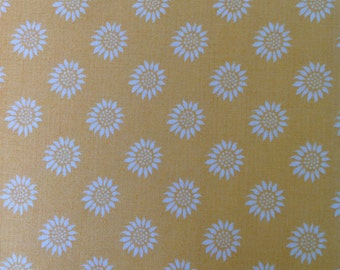 Sunflower yellow fabric, Better Gnomes and Gardens, Yellow fabric with cream flowers, Floral Fabric by In The Beginning, Fabric by the Yard