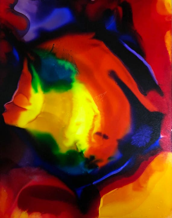 """Original Alcohol Ink Abstract Painting: """"Confidence"""" (11"""" X 14"""")"""