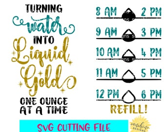 Water Tracker svg, Turning Water Into Liquid Gold svg, Water Intake svg, Water Bottle svg, Water Measurements svg, Breastfeeding Nursing svg