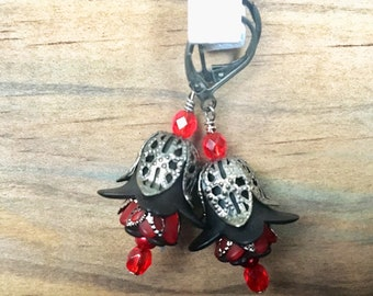 Gunmetal Black Red Lily Bell Flower Earrings