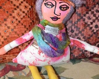 OOAK Mixed Media Cloth Art Doll with Inspire Medallion