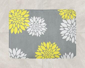 Floral Bath Mat, Yellow Grey Bathroom Decor, Foam Bath Rug, Flowers Bath Mat,  Modern Bath Mat, White Grey Mat, Grey Yellow Bath Rug