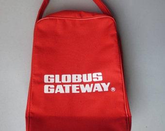 Vintage Globus Gateway Travel Bag Red Airline Carry on Shoulder Bag Overnight
