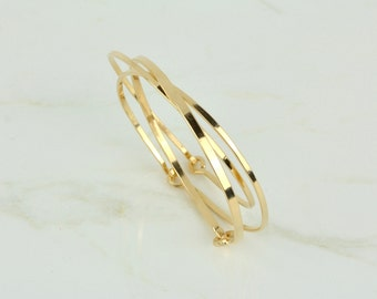 il forged heavy etsy gold hook bangles fill bangle bracelet size hand with thick market custom clasp eye