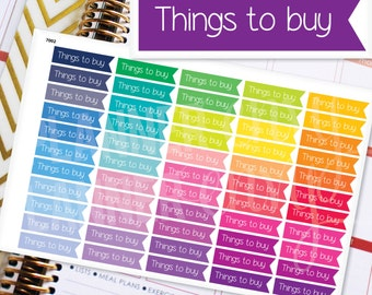Planner Stickers Erin Condren Life Planner (Eclp) - 55 Things To Buy Flag Header Stickers (#7002)