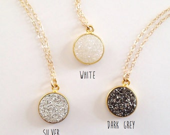 Round Druzy Necklace - Gemstone Necklace - Delicate Gold Jewelry - Gift For Her