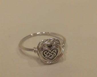 Celtic Heart Wire-Wrapped Ring-Sterling silver plated