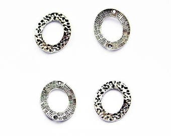 4 round hammered, antiqued silver Metal 22 X 26mm connectors
