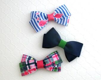 Hair Bows for Girls, Toddler Hair Clips, Preppy Hair Bows, Pink Whale Bow, Madras Plaid Hair Bow, Navy Blue Hair Bow, Toddler Hair Clips