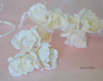 Flower hair pin, bridal headpiece, wedding accessoire