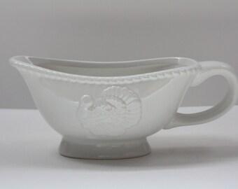 Vintage Ceramic White Turkey Gravy Boat, Thanksgiving, Fall Decor, Country Kitchen, Table Decor