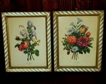 Vintage J.L. Prevost Botanical Floral Lithograph Prints S/2, Framed Floral Art, Botanical Prints, Cottage Decor, Shabby Chic Decor, Country
