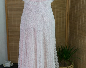 1970s Lace Maxi Peasant Dress