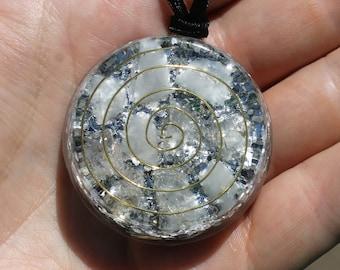 Aura Healer and Protector Orgone Pendant Herkimer Diamonds Quartz and Calcite