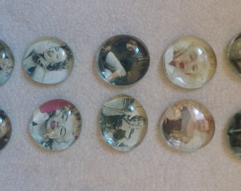 Marilyn Monroe themed glass gem bubble magnets
