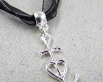 Necklace small cross camargue 23x13mm - 925 Silver finish - choose same color