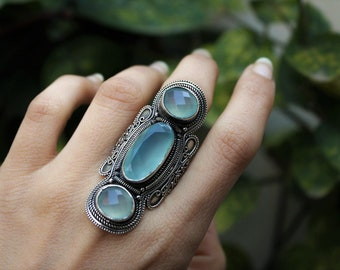 Aqua Chalecony Ring, 925 Sterling Silver, Statement Ring, Aqua Ring, Mint stone Ring, Gypsy Ring, Gemstone Ring, Natural Stone
